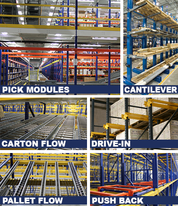 UNARCO Carton Flow, Pallet Flow, Push Back, Cantilever, Drive-In and Pick Modules