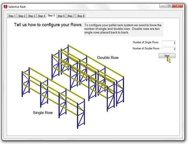 Configure pallet rack rows unarco pallet rack and for Warehouse racking design software