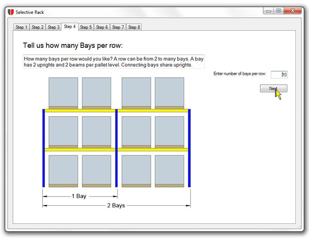 Number of pallet rack bays unarco pallet rack and for Warehouse racking layout software free