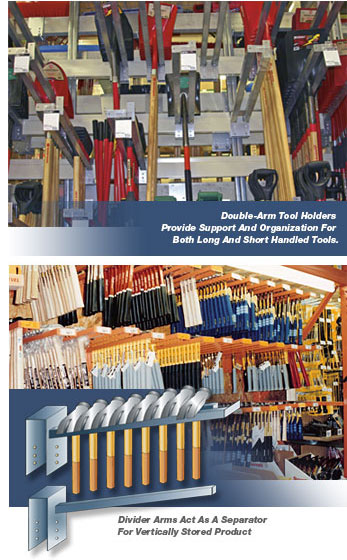 Tool holders and pallet rack divider arms for Warehouse racking design software