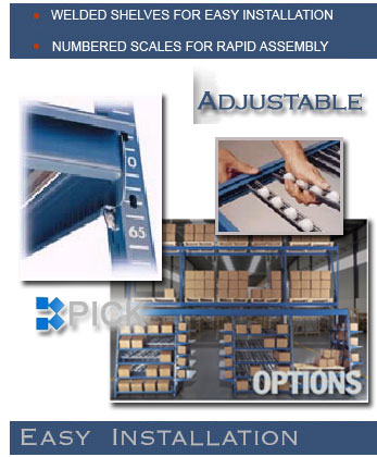 KPICK – Kingway carton flow rack design ships as a completely welded shelf which drops into any carton flow system with special clips.