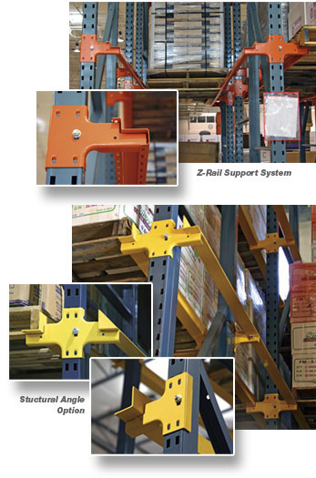 Drive-In Rack Rails are available in structural or roll-formed steel