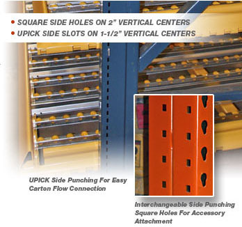 Interchangeable Pallet Racking Uprights with Side Punching