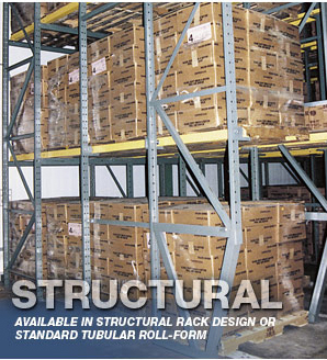 Sloped Leg Drive-In Rack upright gets the lower section of the pallet rack out of the path of forklift traffic.
