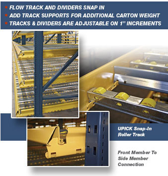 UPICK Gravity Racks knock down design costs less to ship