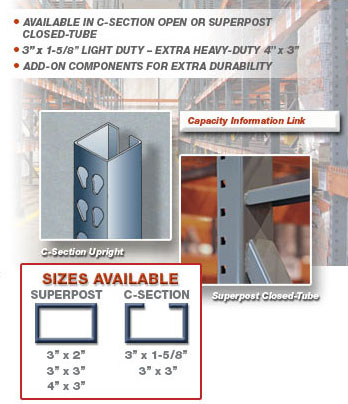 Interchangeable Pallet Racking Upright Sizes