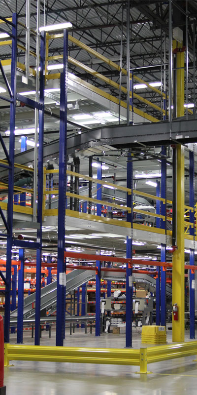 Integration of conveyor, pallet flow and carton flow into multi-level system.