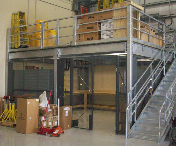 Steel mezzanines and work platforms for warehouse storage for Mezzanines by design