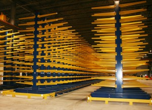 Cantilever Rack End View with End of Aisle Guard