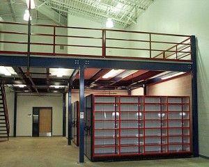 Steel Mezzanine with Warehouse Parts Storage Bins Below