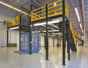 Steel Mezzanine with Enclosed Cage Lift and Safety Gates