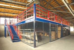 Security Cage Below Steel Mezzanine