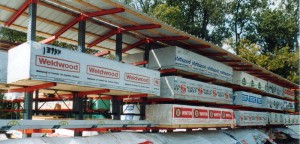 Covered Cantilever Rack Roof System for Lumber Storage