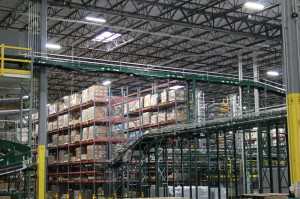 Pallet Rack Conveyor Integration in Warehouse
