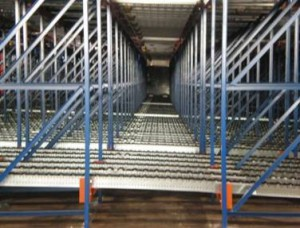 Pallet Flow Racking Side View Sloped Lanes