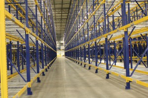 Pallet Racking Aisle With Sloped Shelves