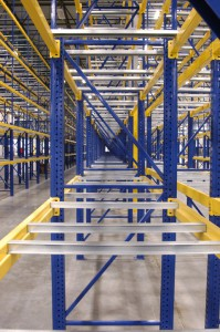 Side View with Crossbars in Pallet Rack Shelf Level