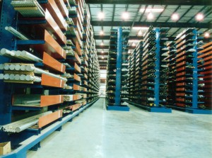 Pipe Storage with Pipe Trays on Cantilever Racking