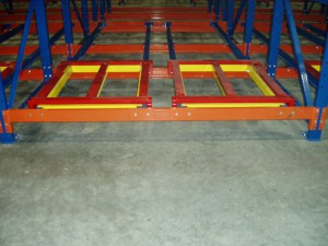 Push Back Rack Lane with Carts Color Coded