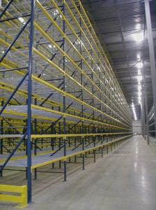 Typical Run of Pallet Rack with Wire Decking