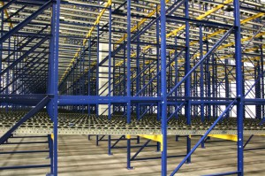 Pallet Flow Racking Side View Unloaded