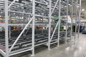 Sloped Shelf Gravity Flow for Pallets