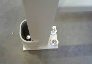 Straddle Protector Top View on Pallet Rack Upright Showing Anchors