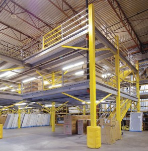 Two Tier Steel Mezzanine with Railing