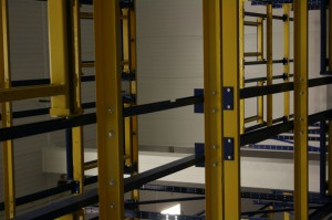 Bottom View Push Back Rack Cart Rails
