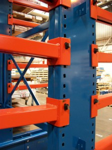 Cantilever Rack Upright Close Up with Key Wedge Connector