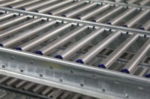 Carton Flow Rack Diamond Embossed Rollers On RhinoTrac Lanes