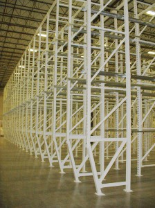 Drive-In Rack System with Sloped Leg Uprights