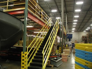 Steel Mezzanine Stairs with Handrails
