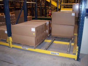 Pallet Flow Rack with Boxes