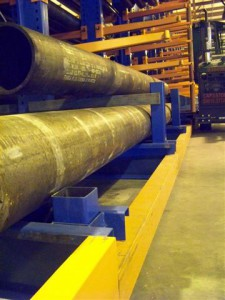 Large Pipe Storage with Guide Rail At Cantilever Rack Base
