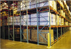 Push Back Racking Side View With Pallets