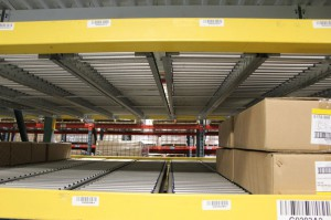Low Profile RhinoTrac Carton Flow Lanes in Pallet Racking