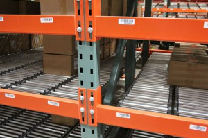 RhinoTrac Carton Flow Rack Lanes with Product