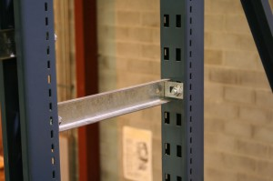 Row Spacer in Pallet Rack Upright with T-Bolt Connection